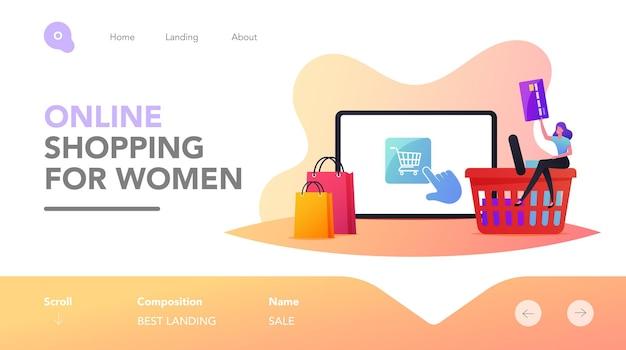 Интернет-магазины, покупка в один клик, шаблон целевой страницы для беспроводной оплаты. крошечный женский персонаж-клиент с кредитной картой, покупающей товары в заказе в интернет-магазине. векторные иллюстрации шаржа