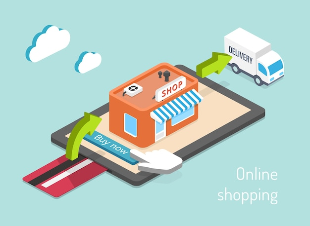 オンラインショッピング。購入、支払い、配送の3dインフォグラフィック