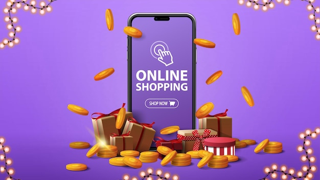 Online shopping, purple banner with a large smartphone with presents boxes and gold coins around