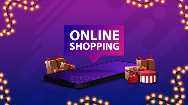 Online shopping, purple banner with large title, presents boxes lying around of smartphone, and garland frame