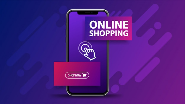 Online shopping, purple banner with smartphone with volumetric title and button. web banner for your website