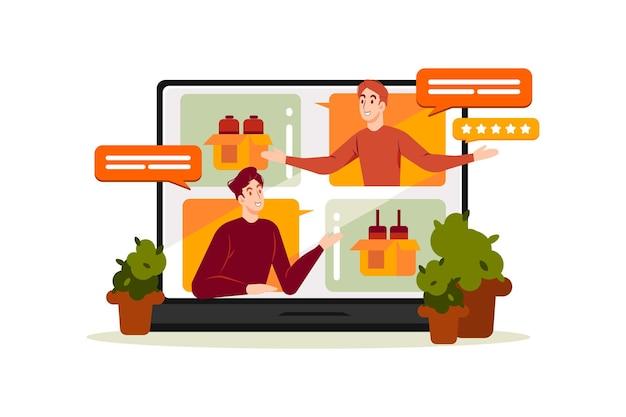 Интернет-магазин обзор иллюстрации концепции