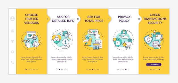 Online shopping safety advices onboarding  template. asking for detailed info. privacy policy. responsive mobile website with icons. webpage walkthrough step screens. color concept