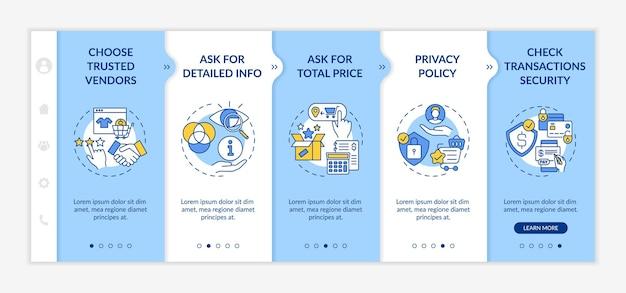 オンラインショッピングの安全に関するアドバイスのオンボーディングテンプレート。合計金額を尋ねる。トランザクションのセキュリティ。アイコン付きのレスポンシブモバイルウェブサイト。 webページのウォークスルーステップ画面。 rgbカラーコンセプト