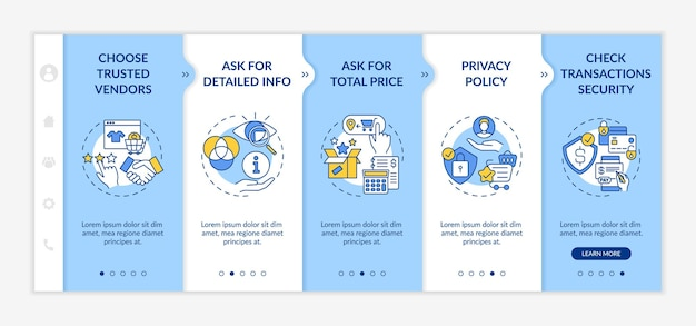 Online shopping safety advices onboarding  template. asking for total price. transactions security. responsive mobile website with icons. webpage walkthrough step screens. rgb color concept