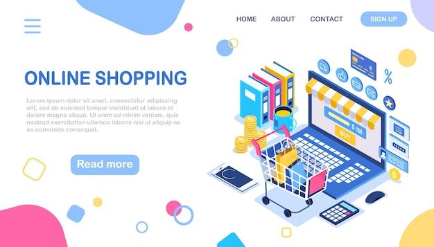 オンラインショッピング、販売。インターネットで小売店で購入します。ショッピングカート、トロリー、お金を備えたコンピューター Premiumベクター
