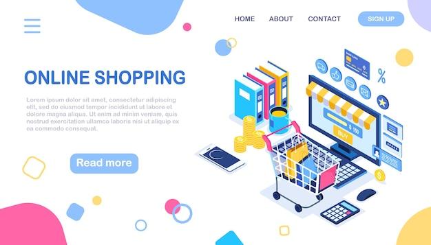 온라인 쇼핑, 판매. 인터넷으로 소매점에서 구입하십시오. 쇼핑 카트, 트롤리, 돈을 가진 컴퓨터