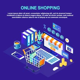 オンラインショッピング、販売。インターネットで小売店で購入します。ショッピングカート、トロリー、お金を備えたコンピューター