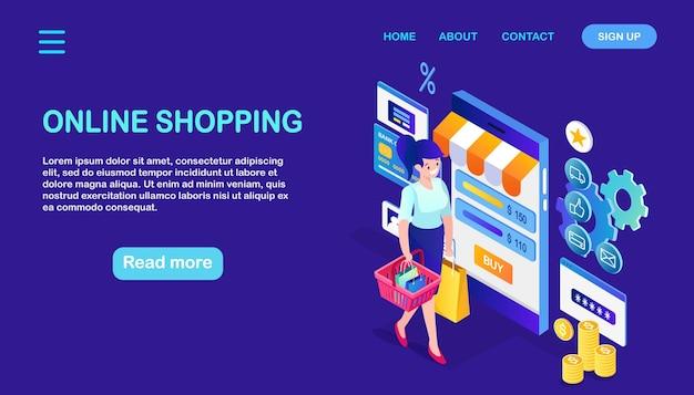 オンラインショッピング、販売。インターネットで小売店で購入します。バッグ、電話、お金と等尺性の女性 Premiumベクター