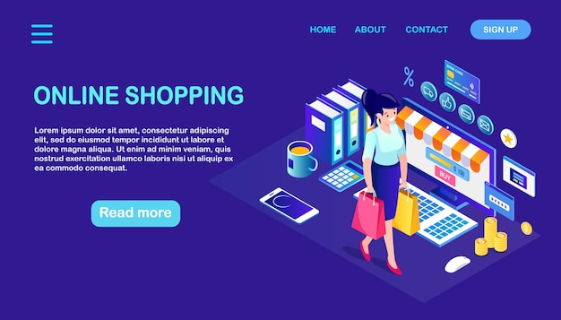 Online shopping , sale. buy in retail shop by internet. isometric woman with bag, computer, money