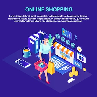Online shopping , sale. buy in retail shop by internet. isometric woman with basket, computer, money