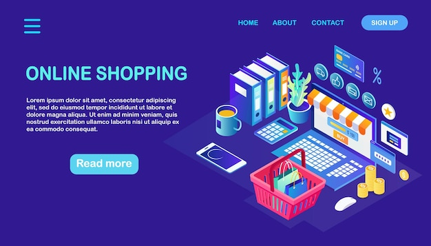 オンラインショッピング、販売コンセプト。インターネットで小売店で購入します。アイソメトリックコンピューター、バスケット、お金
