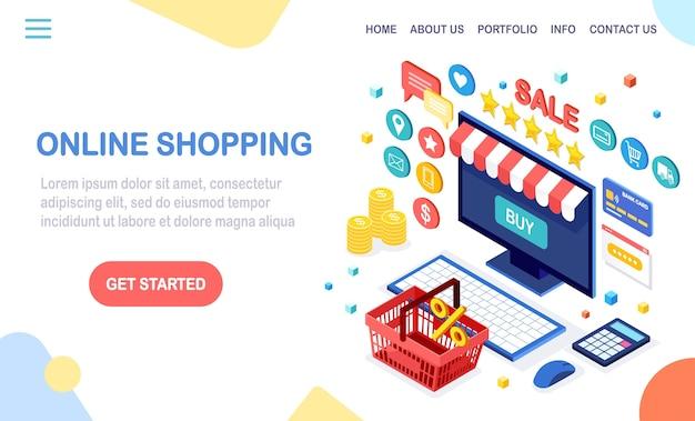 Интернет-магазины, концепция продажи. купить в розничном магазине через интернет. изометрический компьютер, ноутбук с корзиной, деньги, кредитная карта, отзыв клиентов, звезда обратной связи. для веб-баннера