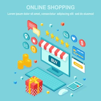 オンラインショッピング、販売コンセプト。インターネットで小売店で購入します。等尺性コンピューター、ラップトップ、お金、クレジットカード、顧客レビュー、フィードバック、ギフトボックス、驚き。ウェブバナー用