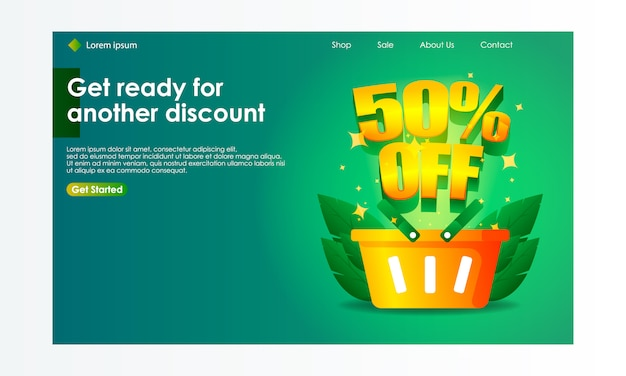 Online shopping sale illustration for landing page