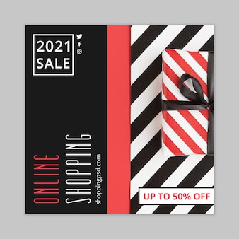 Online shopping and sales flyer square template Premium Vector
