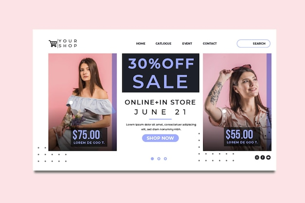 Online shopping and sales landing page template