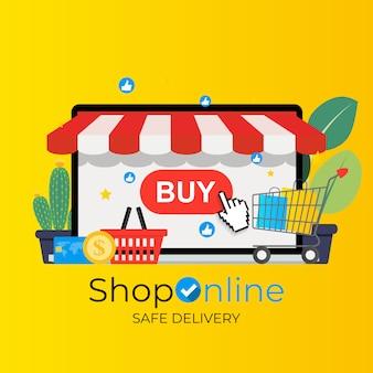 オンラインショッピング、配信の概念を保存します。 webバナー、ウェブサイト、インフォグラフィック、印刷物のモダンなコンセプト。図