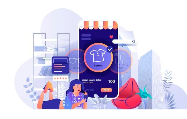 평면 디자인 컨셉에 사람들이 문자의 온라인 쇼핑 장면 그림