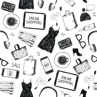 Online shopping seamless pattern. black and white, hand drawn