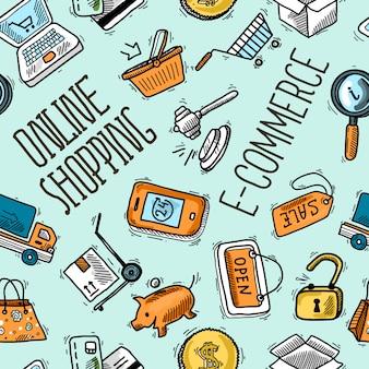 Online shopping seamless pattern