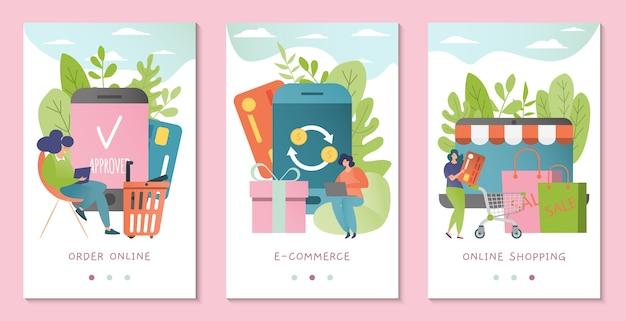 Интернет-магазин службы баннер иллюстрации. покупатель покупает в интернет магазине через мобильное приложение товары, продаются по карточке.