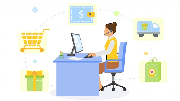 Online shopping service consultant office and cartoon workplace,  illustration. woman character work with computer