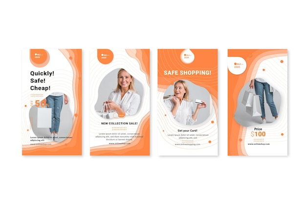 Online shopping service  instagram stories template