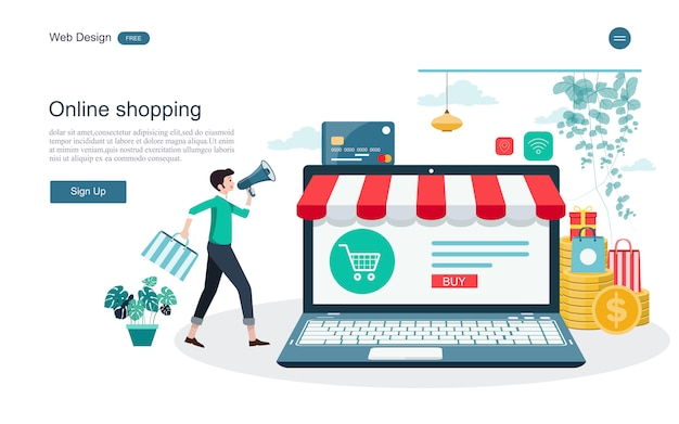 Online shopping and services landing page