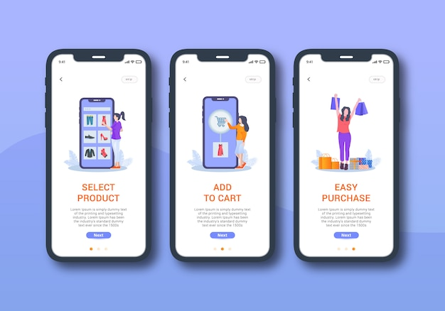 Online shopping set of onboarding screen mobile ui