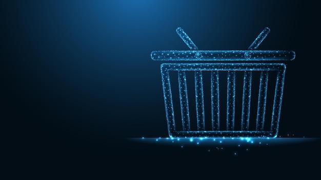 オンラインショッピング。ショッピングカート、バスケットライン接続。低ポリワイヤーフレームデザイン。抽象的な幾何学的な背景。ベクトルイラスト。