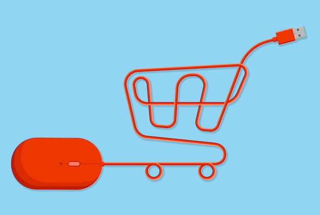 Online shopping shopping cart created with red computer mouse usb wire on light blue background