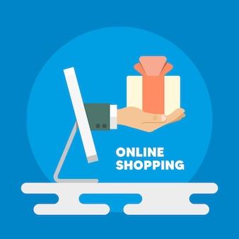 Онлайн шоппинг. покупки в плоском стиле. покупки с помощью компьютера. изображение покупок компьютера.