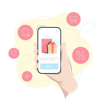 Online shopping on a smartphone, hand holding mobile phone