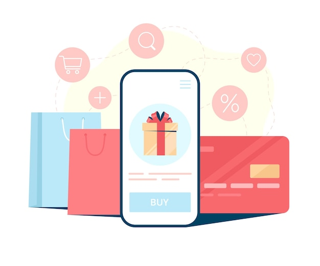 Online shopping on a smartphone, mobile phone on a background with shopping bags and credit card