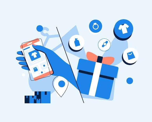 网上购物智能手机变成了移动营销和电子商务的互联网店概念