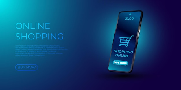 Online shopping. smartphone turned into internet shop.