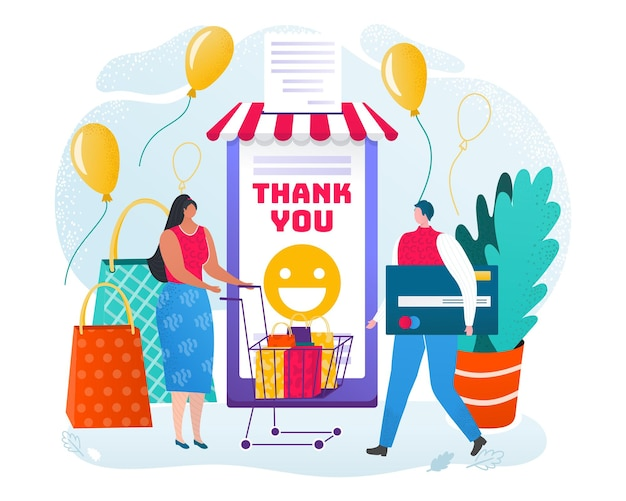 Online shopping in smartphone, vector illustration. internet mobile shop application, man woman character buy in phone technology. customer make purchase, get check from app, people hold bank card.