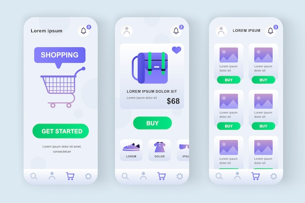 Online shopping solution unique neomorphic  kit. shopping app with product photo, description and price. internet marketplace platform ui, ux template set. gui for responsive mobile application.