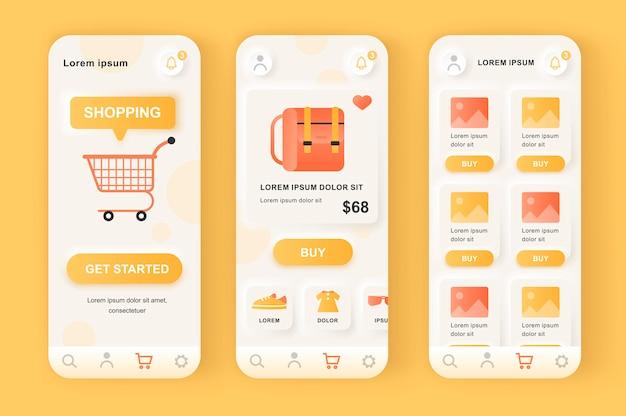 オンラインショッピングソリューションのユニークなニューモフィックデザインキット。