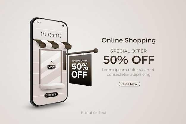 Online shopping special offer banner template on web or mobile app