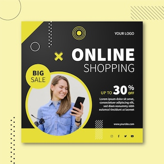Online shopping square flyer design
