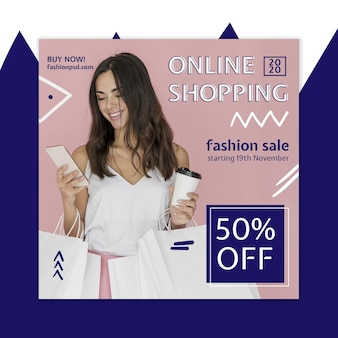 Online shopping squared flyer template