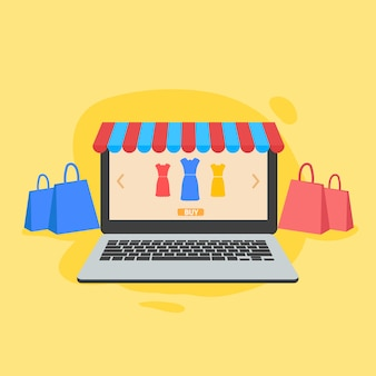 Online shopping and store illustration for website