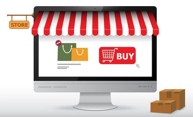 Интернет-магазин на экране монитора компьютера. иллюстрация концепции электронной коммерции и цифрового маркетинга.