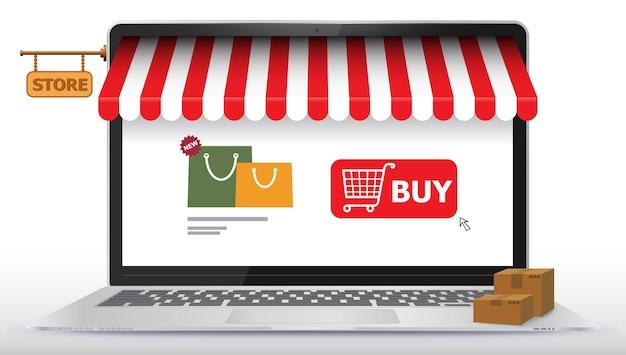 노트북 컴퓨터 화면에 온라인 쇼핑 스토어. 전자 상거래 및 디지털 마케팅 개념 그림.