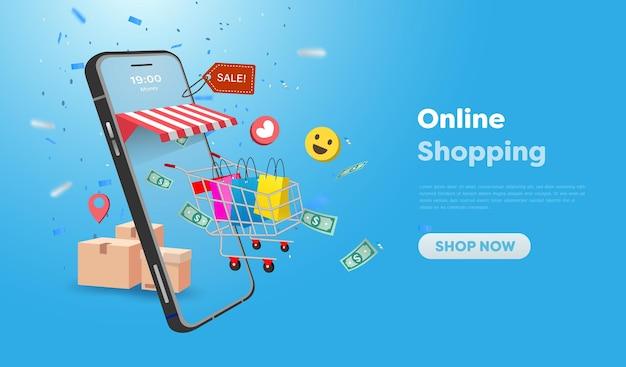 웹 사이트 및 휴대 전화 디자인의 온라인 쇼핑 상점. 스마트 비즈니스 마케팅 개념입니다. 수평 보기입니다. 벡터 일러스트 레이 션.