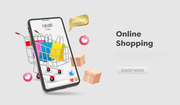 Интернет-магазин на сайте и в дизайне мобильных телефонов. концепция маркетинга умного бизнеса. горизонтальный вид. векторные иллюстрации.