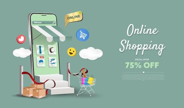 ウェブサイトや携帯電話のオンラインショッピングストア。スマートビジネスマーケティングの概念。