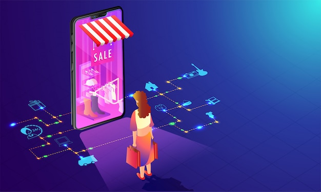 Online shopping store in smartphone.